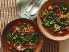 Turkey, Kale and Brown Rice Soup recipe from Giada De Laurentiis via Food Network. No brown rice or cheese. Kale Recipes, Soup Recipes, Dinner Recipes, Healthy Recipes, Healthy Meals, Giada Recipes, Weekly Recipes, Healthy Eating, Gourmet