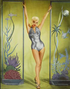Diana Dors 1950's, silver swimsuit