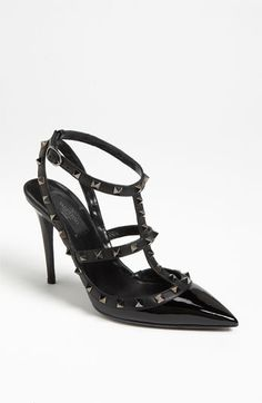 I want these!  They are my special reward when I get a special enough something going in writing.  It could be a contract, it could be hitting a specific earnings level.  The minute that happens, these are MINE!  Valentino 'Noir' Pump | Nordstrom