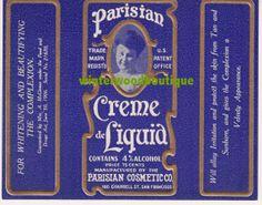 1906 Parisian Creme de Liquid - Vintage Label via Etsy