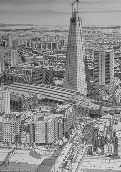 Trip down memory line: Artist draws incredibly detailed pictures of famous cities entirely from MEMORY Cityscape Drawing, City Drawing, Paris New York, New York Art, Line Artist, Sea Pictures, Visual Memory, Background Drawing, Amazing Drawings