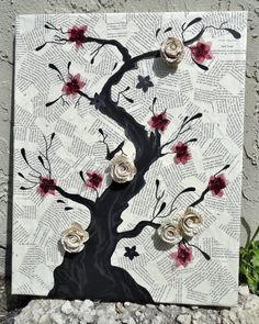 Paper Tree Art 3D Canvas Art  Blooming  tree collage and by lanamh, $45.00