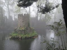 One of the lakes and duck house near the Valley of the Lake Entrance to Pena Palace.  Sintra, Portugal about an hour outside Lisbon.  UNESCO World Heritage Site