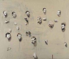 Michaël Borremans (Belgian, b. 1963), Remote Heads, 1999-2000. Oil on canvas, 20 x 140 cm.