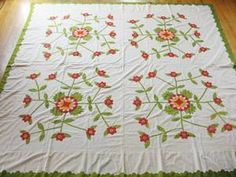 Exceptional Antique c1850 1870's Hand Appliqued Quilt Top or Coverlet | eBay