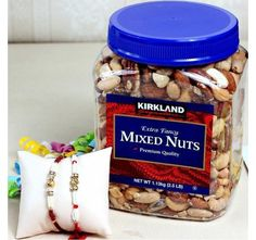 Two Stylish Rakhis with Mix Nuts
