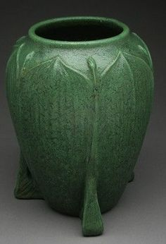 """Wheatley Pottery, vase with 3 buttressed feet, matte green glaze, leaf and flower body, 11""""h    SOLD $1,830 eBay, Aug 19, 2013"""