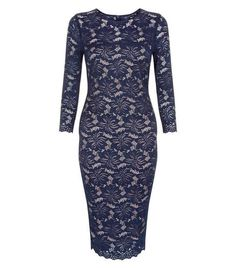 AX Paris Navy Lace 3/4 Sleeve Dress | New Look