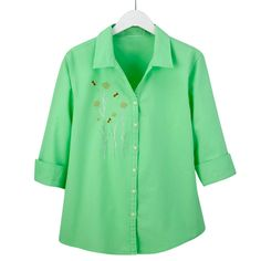 Let the sun shine! Ideal for year-round wear, this 100% garment-dyed cotton shirt is stylish, comfortable and carries a UPF rating of 25+. The close woven fabric will help protect you from the sun's harmful rays. Designed with a shirt collar, three-quarter length sleeves, and button front, the mint green shirt features an embroidered bee design accented with shining colored metal bead flowers. Machine washable. Imported. Available in adult sizes: (S-XL) $49.99 (2X) $59.99.