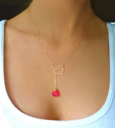 Gold Heart Necklace -Gold Lariat Necklace - Hot Pink Necklace -Heart Jewelry -Sideways Heart Necklace -Love Jewelry Mother, Sister Wife Gift
