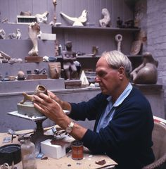 """amare-habeo: """"Photography of Henry Moore (British, 1898 - 1986) in the studio in the early 60th """""""