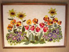 1960's Danish Modern Crewel Embroidery Wall Art  Weaving Evelyn Ackerman Era