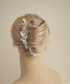 Crystal vine hair comb Wedding headpiece