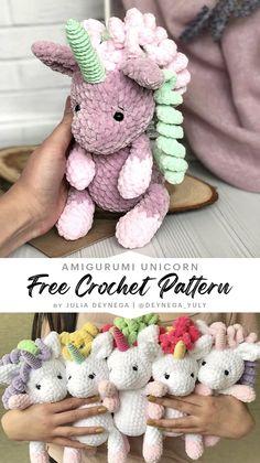Crochet Unicorn Pattern Free, Crochet Animal Patterns, Crochet Patterns Amigurumi, Crochet Dolls, Free Pattern, Kawaii Crochet, Crochet Disney, Cute Crochet, Diy Crochet Gifts