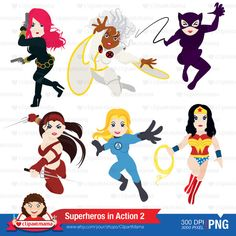 Superhero in Action 03 Digital Clipart by ClipartMama on Etsy