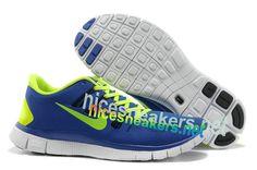 Mens #Nike #Free 5.0 Royal Blue Volt Running Shoes #shoesshoesshoes