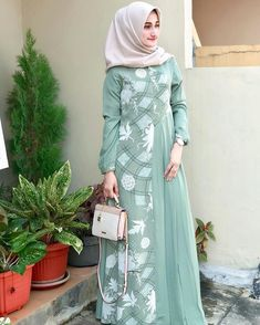 Dress by javina official Modern Hijab Fashion, Muslim Women Fashion, Batik Fashion, Abaya Fashion, Women's Fashion Dresses, Indian Designer Outfits, Designer Dresses, Simple Dresses, Casual Dresses