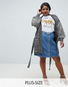 b14a001426492 Lost Ink Plus oversized cardigan with belted waist in chunky contrast knit