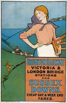TX80 Vintage Brighton Railway Sussex Downs Travel Poster Re-print A2/A3 in Advertising/ Posters | eBay