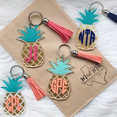 """3"""" Monogram Pineapple Keychain {choose your own colors}"""