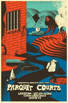 Parquet Courts by Jaime Zuverza Maybe a print? Graphic Design Typography, Graphic Design Art, Graphic Design Inspiration, Rock Posters, Concert Posters, Gig Poster, Band Posters, Movie Posters, Pochette Photo