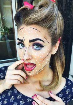 Pop Art Makeup Look Idea for Halloween
