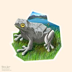 GraniteFrog by rain-ant on DeviantArt Yellow Art, Yellow Eyes, Ant Art, Toad, Ants, Granite, Grass, Lion Sculpture, Relax
