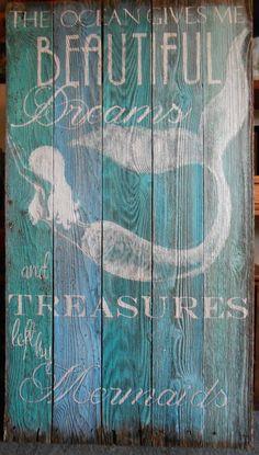 4 Foot Barnwood Mermaid Sign Hand Painted by tawnystreasures, $145.00