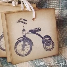 I wish there was a <3 LOVE button!! @Emily Dugan has the best tags. ALL #Handmade by her!! Vintage Tricycle Hang Tags