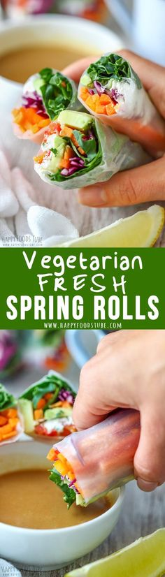 Vegetarian Fresh Spring Rolls with Peanut Butter Dipping Sauce are packed with fresh vegetables. They are light, refreshing and tasty!