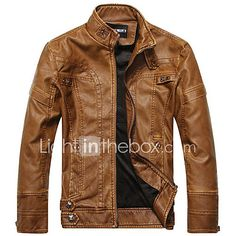Men's Casual/Daily Simple Leather Jackets,Solid Long Sleeve Black / Brown / Yellow PU 2017 - $48.99