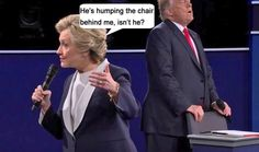 Colin Cooley shared Kymberly Charest-Jacobs's photo. Yesterday at 9:49am ·  This is a funny captioned picture but I think he's actually trying to catch his breath. What's that word he likes to banter about...Stamina! She's got it! He doesn't. He acts like a tired old man. Hillary is in much better health. Think about it... He's always projecting his own weaknesses on others in true Republican't style.