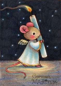 Tiny Flame - cute angel mouse art by Carmen Medlin