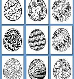 Free easter egg coloring book - 20 different pattern / Ingyenesen letölthető húsvéti színező füzet 20 külünböző tojás mintával / Mindy