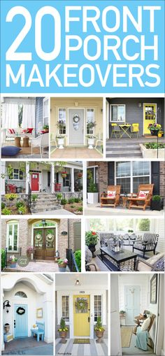 20 Front Porch Makeover Ideas - How to Nest for Less™ Seriously love these 20 front porch makeovers. Perfect ideas for Spring and Summer! Love the pops of bright colors throughout too! Diy Balkon, Front Porch Makeover, Door Makeover, Building A Porch, House With Porch, Decks And Porches, Diy Décoration, Outdoor Living, Outdoor Decor