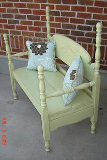 Cassandra Design Benches  These benches are made out of vintage and antique beds and cribs. They all have custom pillows and ties. Each bench is a one-of-a-kind and you won't find anywhere else.