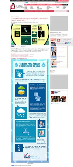 Título: Como economizar água: infográfico ensina 10 maneiras simples; Veículo: portal Bolsa de Mulher; Data: 13/02/2014; Cliente: CAS Tecnologia.