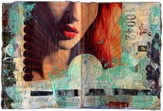 mixed media collage in art journal by sparkleface at flickr