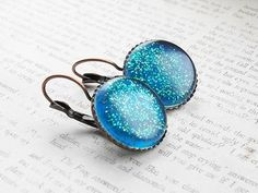Turquoise Glitter Dots Resin French Earhooks