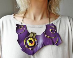 Funky leather necklace with asymmetrical pendant Purple