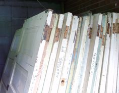 60 heart pine doors salvaged from local hotel, downtown Asheville NC