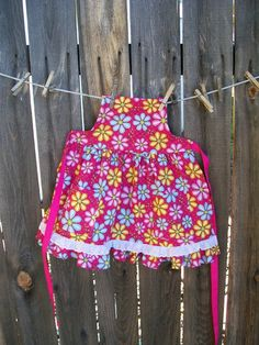 Flower Power Girl Retro Apron with Ruffles and Lace Hot Pink | Etsy