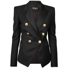 BALMAIN Blazer Gold Buttons Black ($1,575) ❤ liked on Polyvore featuring outerwear, jackets, blazers, black double breasted jacket, balmain jacket, double breasted blazer, gold button blazer and black jacket