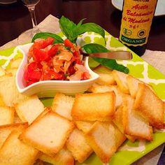 サンドウィッチ用のパン、表はカリカリ、裏はふっくらで♪ お好みでバルサミコ酢を(^o^) - 33件のもぐもぐ - サーモンとホタテのブルスケッタ☆ by hanasui