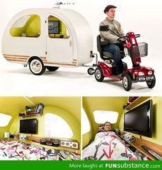QTvan Mini Camper Trailer Designed For Use With Electric QTvan La caravane design pour scooter Glamping, Small Caravans, Vintage Caravans, Bike Motor, Materiel Camping, Design Industrial, Mini Camper, Electric Scooter, Camper Trailers