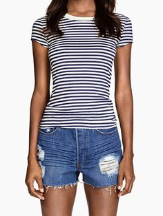 Navy & White Striped Cap Sleeve Round Neck Casual Tees - Nextshe.com