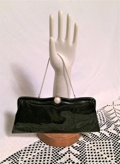 Vintage Black Patent Leather Purse with Removable Chain Vintage Purses, Baroque Pearls, Black Patent Leather, Vintage Black, Leather Purses, Bucket Bag, 1960s, Chain, Pink