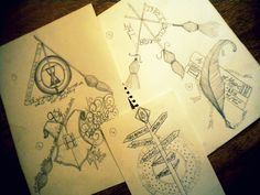 the-stars-shone-through-his-soul:    Ideas that I'm gonna send to Jessiny for her Harry Potter tattoo, been doodling for ages