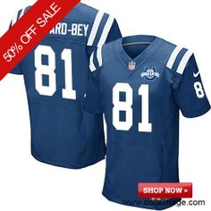 $129.99 Men's Nike Indianapolis Colts Colts #81 Darrius Heyward-Bey Elite Team Color 30th Seasons Patch Blue Jersey