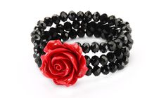 54606 Red Rose And Black Facet Cut Bead Bracelet from www.joe-cool.co.uk
